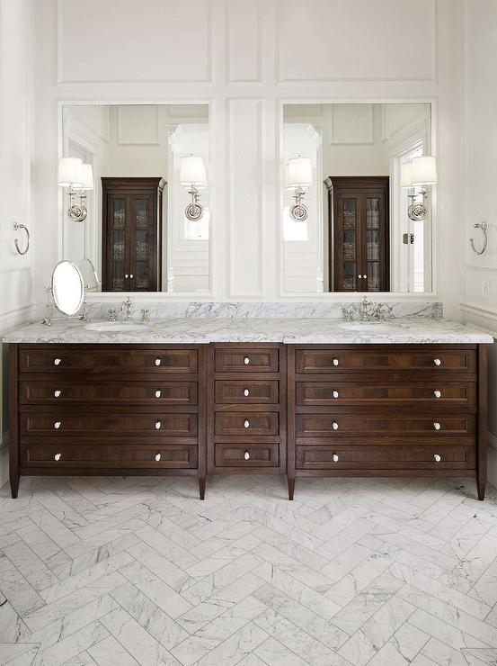 Marble Floor Bathroom : Walnut stained double washstand with marble herringbone