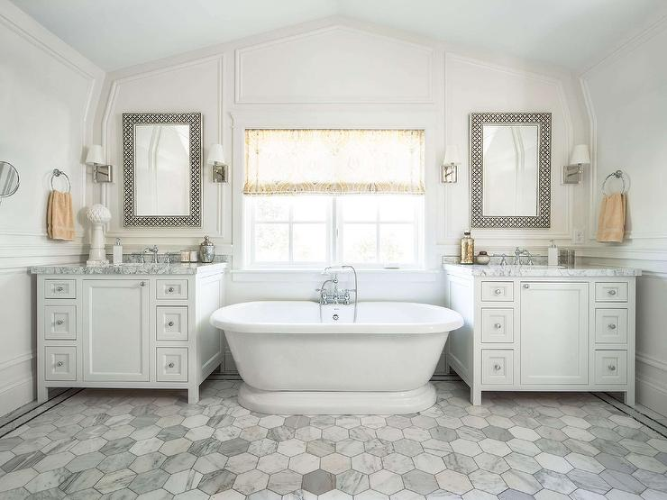 White Washstands With Black And Arabesque Mirrors