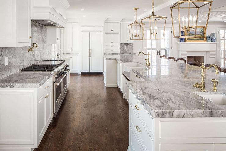 White And Gray Kitchen With Antique Brass Lanterns