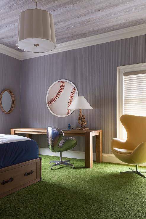 Contemporary Baseball Themed Boys Room Boasts A Ceiling Clad In Faux Bois Wallpaper Lined With Barbara Barry Simple Scallop Pendant Illuminating Long