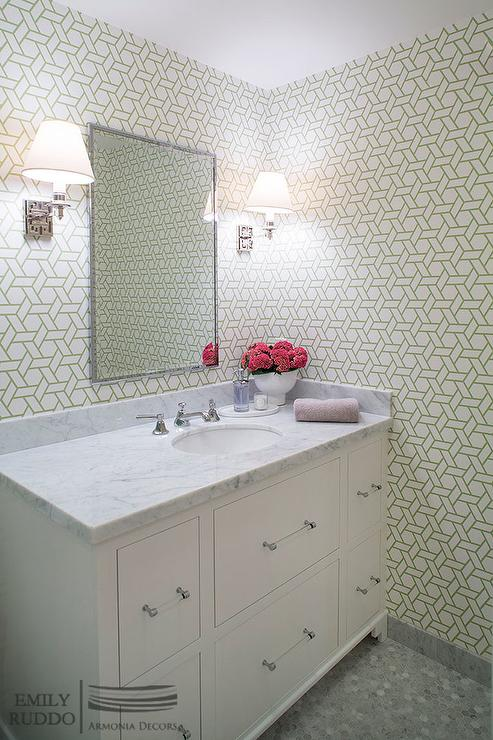 White and green bathroom with green trellis wallpaper