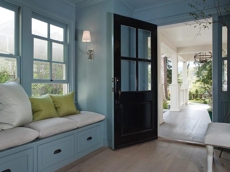 Gray mudroom lockers with cup pull hardware contemporary for Window side seating