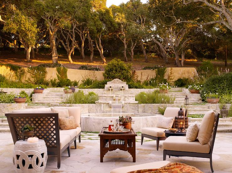 Arabesque Outdoor Sofa And Chairs With Moroccan Coffee Table - Moroccan outdoor coffee table