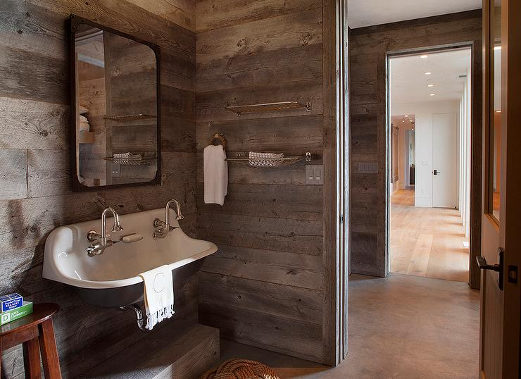 Country Cabin Boys Bathroom With Barn Board Walls