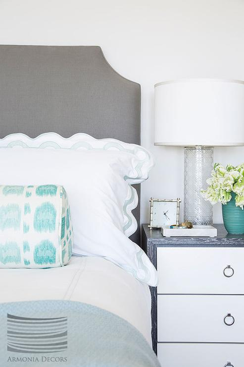 Gray And Blue Bedroom With White And Gray Nightstand