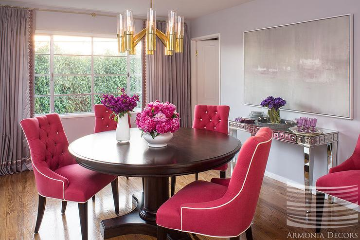 Hot Pink Tufted Dining Chairs And Lucite Brass Chandelier