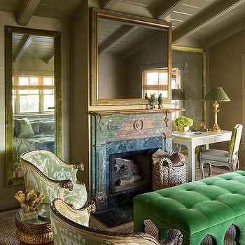 Green And Gold Living Room With Emerald Velvet Tufted Bench