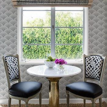 brass and marble cafe table with french dining chairs - Marble Cafe Decoration
