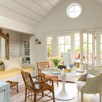 Vaulted Dining Room Ceiling With Reading Nook Alcove