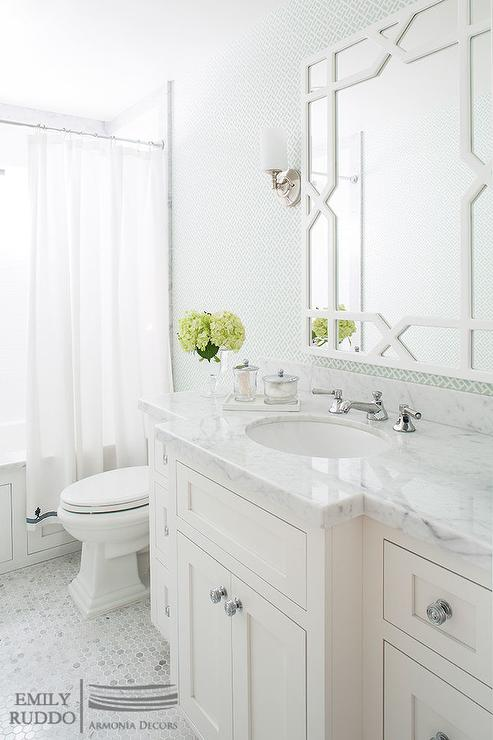 White and green bathroom with worlds away vero white for Green and white bathroom