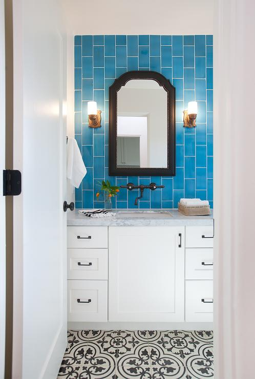Bathroom with Blue Vertical Subway Tile Backsplash Transitional