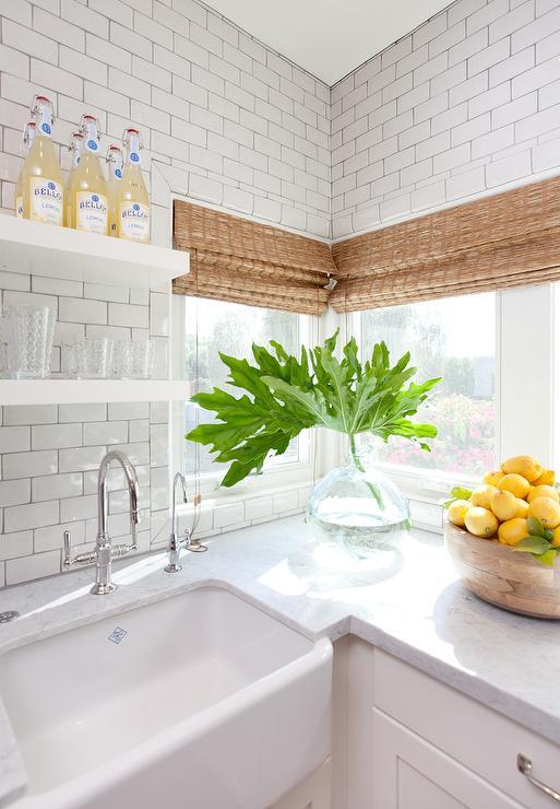 Adjacent Corner Kitchen Windows with Bamboo Roman Shades ...