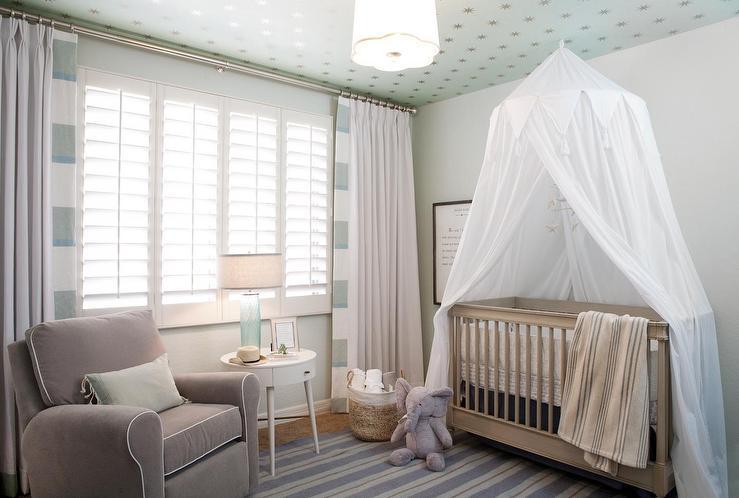 White Sheer Canopy Over Gray Crib & White Sheer Canopy Over Gray Crib - Transitional - Nursery