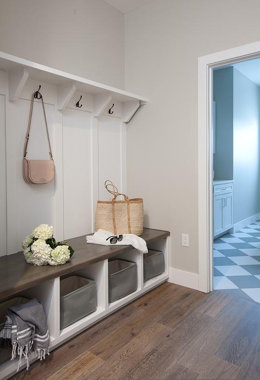 Enjoyable Hallway Mudroom With Built In Bench And Board And Batten Interior Design Ideas Clesiryabchikinfo