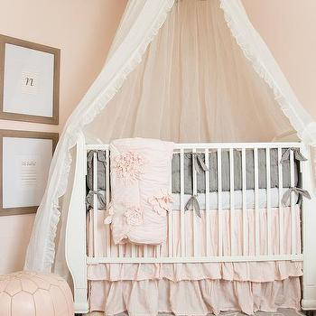 Pink Nursery Design with Caddy Corner Crib and Tulle Canopy & Nursery with Gold Angel Wings - Transitional - Nursery