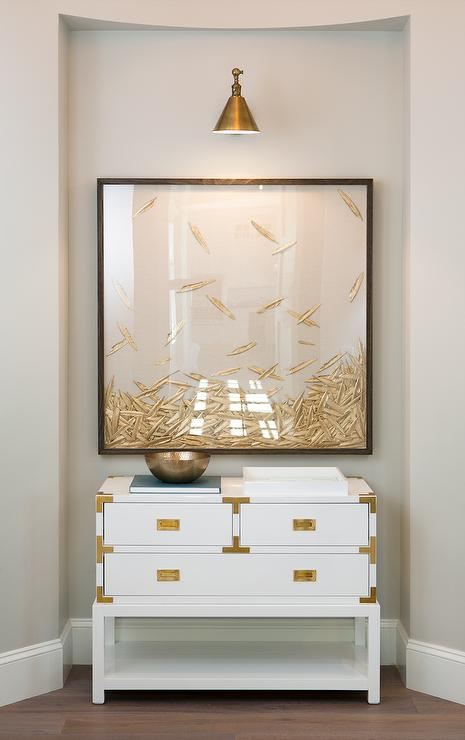 Foyer Framed Art : White and gold campaign table with natural curiosities
