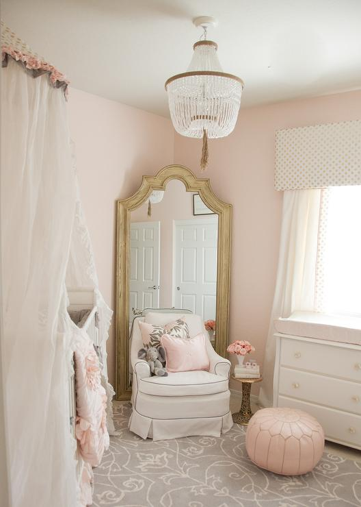 Pink And Gray Girl Nursery Design With Sheer Canopy Over