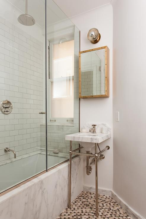Tiny Bathroom With Small Marble Washstand And Brass Rivet