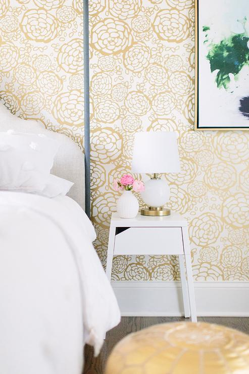 white and gold bedroom with hygge and west oh petal