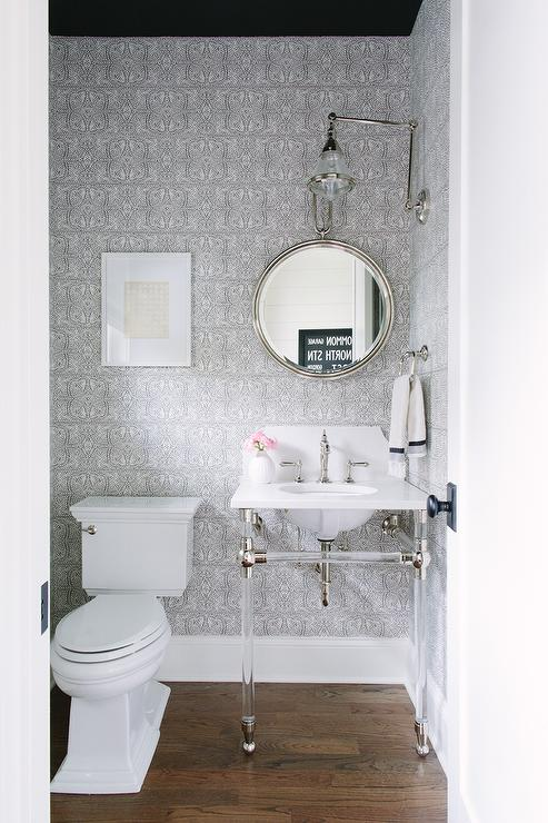Gray Powder Room With Black Ceiling Transitional Bathroom