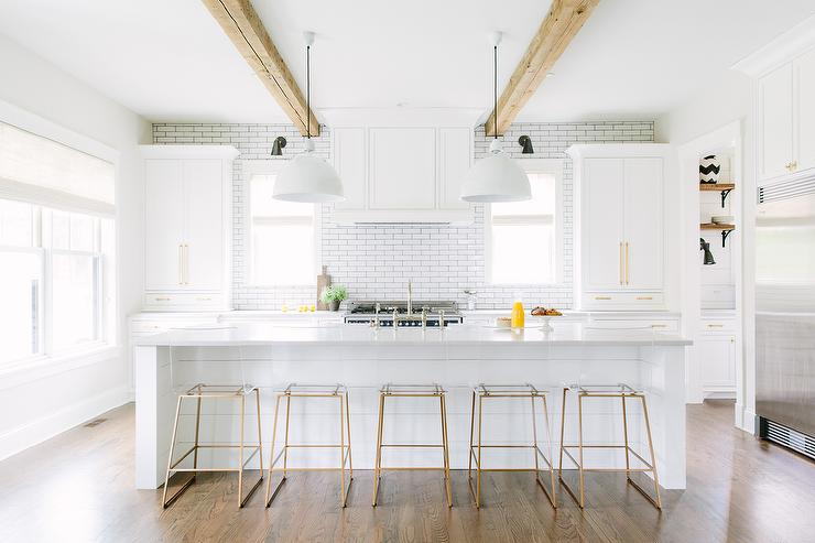 Genial White Shiplap Kitchen Island With Brass And Lucite Counter Stools