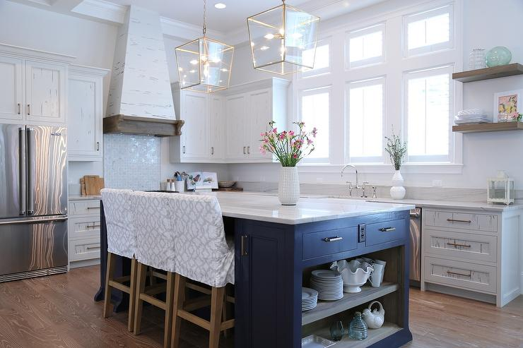 Grey Kitchen Cabinets With Blue Island navy blue kitchen island with open shelves - cottage - kitchen