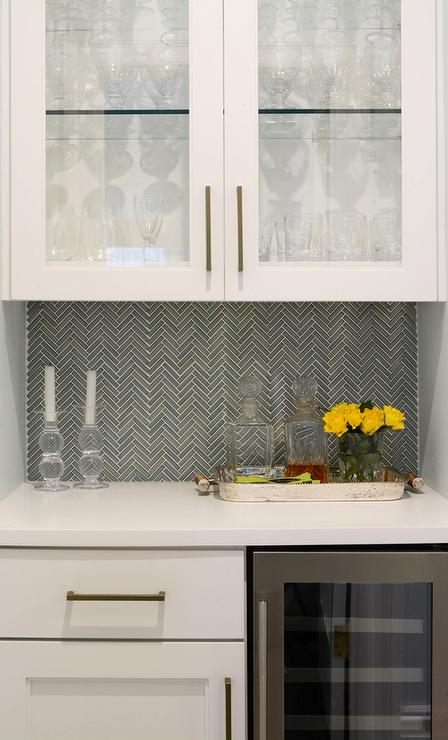 white butler pantry with gray ann sacks savoy herringbone