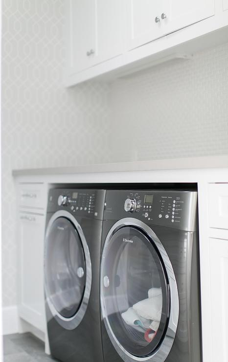 White Laundry Room Cabinets With Light Gray Quartz
