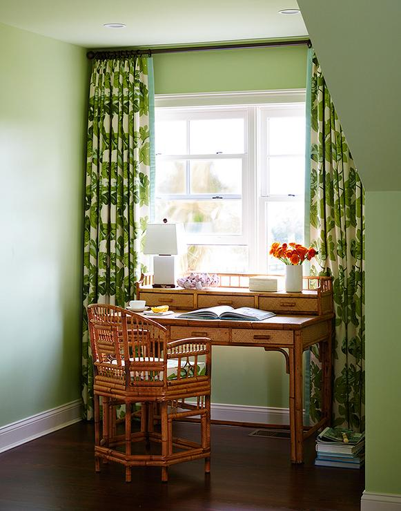 green curtains - cottage - living room - bhg