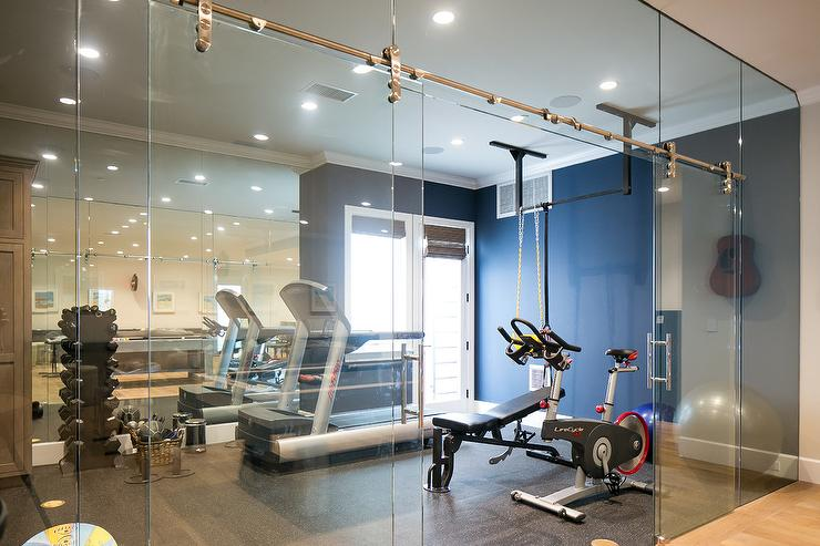 home gym lighting. home gym with glass sliding door on rails lighting r