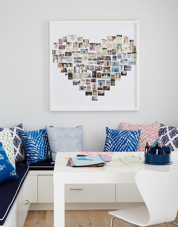 Home Office With Heart Shaped Polaroid Photos Cottage Den Unique Built In Home Office Furniture Creative Interior