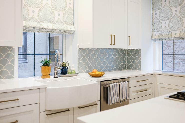 Blue Farmhouse Sink : White and Blue Kitchen with Curved Apron Sink - Contemporary - Kitchen