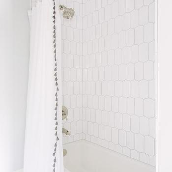 Gorgeous Bathroom With Drop In Tub Lined Subway Tile Shower Surround And West Elm Chevron Curtain Grey Scout White