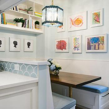 Kitchen Pass Through Opens To Built In Dining Banquette