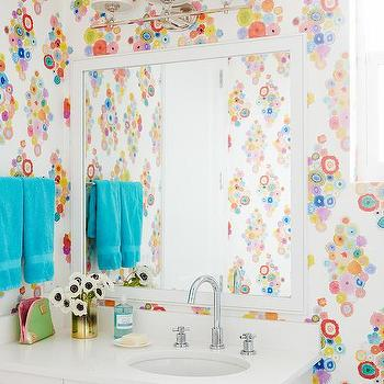 'Teenage Girls Bathroom Design with Flower Wallpaper' from the web at 'https://cdn.decorpad.com/photos/2016/05/23/m_teenage-girls-bathroom-ideas.jpg'