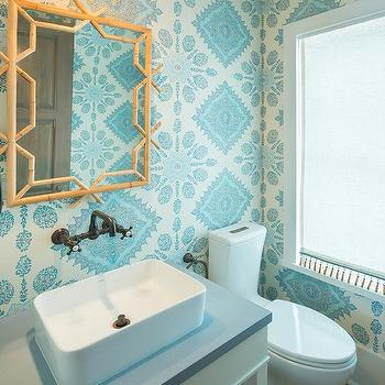 Gray and turquoise blue powder room with katie ridder for Gray and turquoise bathroom