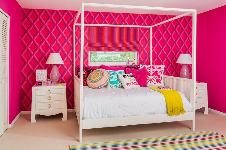 Red Teenage Girls Bedroom with Cole and Son Pompeian ...