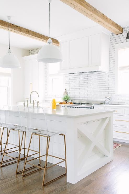 White And Gold Kitchen With Cb2 Vapor Acrylic Bar Stools