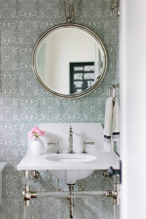 Small Marble And Glass Washstand With Arteriors Lander Iron Mirror Transitional Bathroom