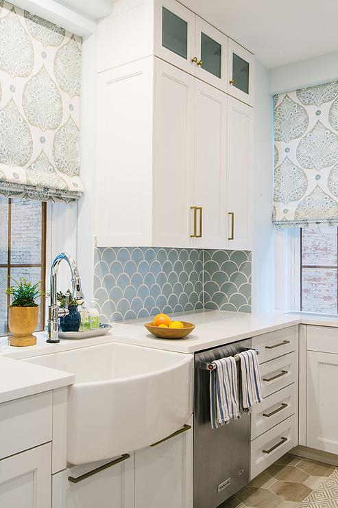 Blue Kitchen Backsplash Tiles with White Cabinets