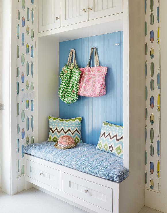 Blue Mudroom with Blue Beadboard Trim and Studio Four NYC Surfboards Wallpaper