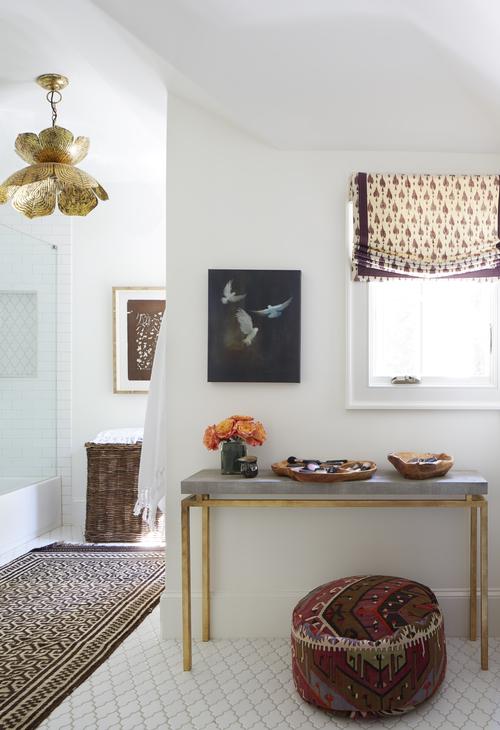 Bathroom with brass lotus pendant light transitional bathroom bathroom with brass lotus pendant light aloadofball Image collections