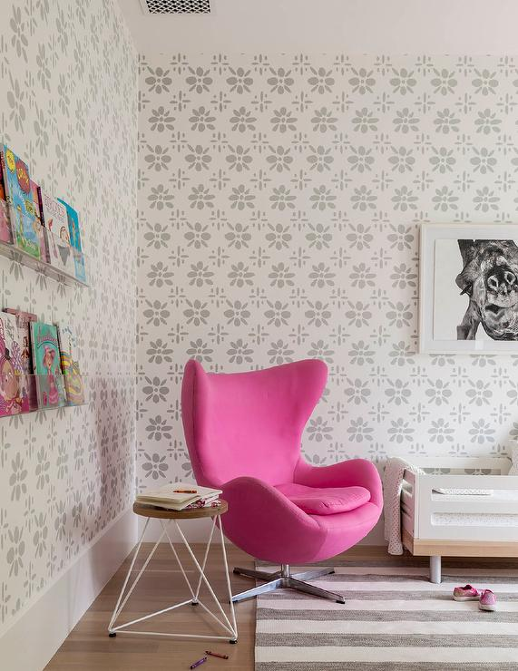 Pink And Gray Toddlers Room With Hot Pink Egg Chair