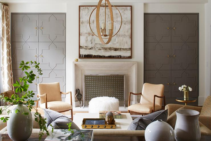 Cream And Gray Living Room With Gray Quatrefoil Cabinet Doors Transitional