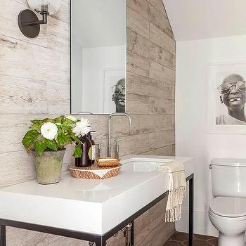 modern cottage powder room with plank accent wall - Accent Wall Design Ideas