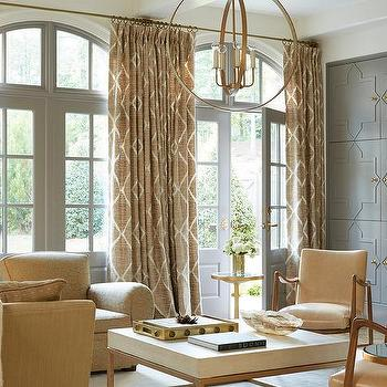 Cream And Gray Living Room With Gray Quatrefoil Cabinet Doors Transitional Living Room