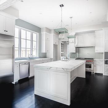 Walnut Stained Kitchen Pantry With Ebony Oak Wood Floors