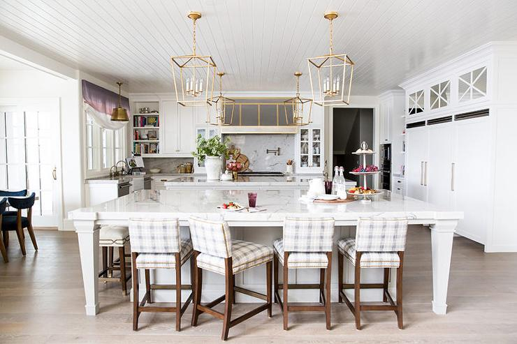 kitchen with two islands and gray check counter stools transitional kitchen. Black Bedroom Furniture Sets. Home Design Ideas