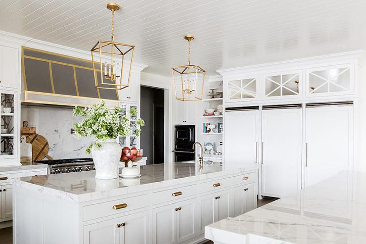 mirrored kitchen cabinets over sideside refrigerators
