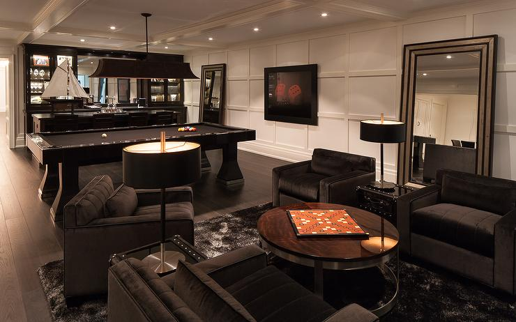 Contemporary basement family room with black velvet tufted for Furniture for media room